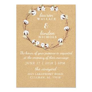 Rustikale BaumwollKranz-Hochzeits-Einladung Karte