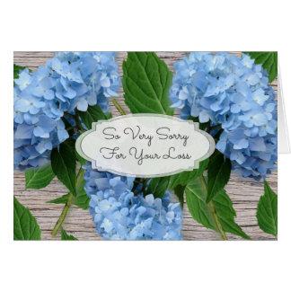 Rustikale blaue Hydrangeas-Beileids-Mitteilung Mitteilungskarte