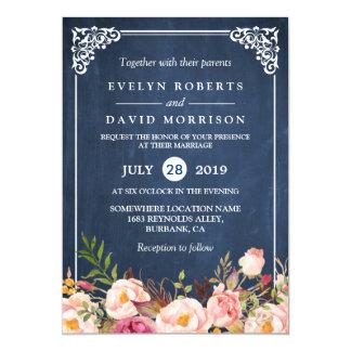 Rustikale blaue mit Blumentafel-formale Hochzeit 12,7 X 17,8 Cm Einladungskarte