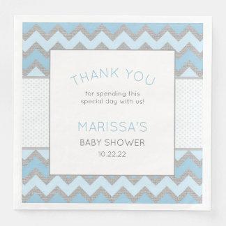 Rustikale blaues Grau-Jungen-Babyparty-Serviette Papierserviette
