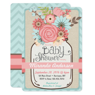 Rustikale BlumenBabyparty-Einladung 12,7 X 17,8 Cm Einladungskarte