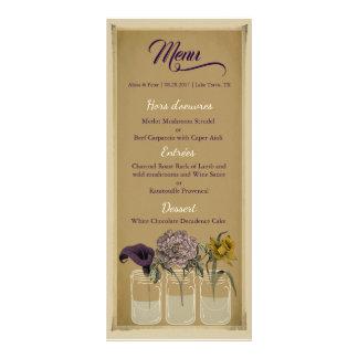 Rustikale BlumenWeckglas-Hochzeits-Menü-Karte Werbekarte