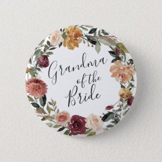 Rustikale Blüten-Großmutter der Braut Runder Button 5,1 Cm