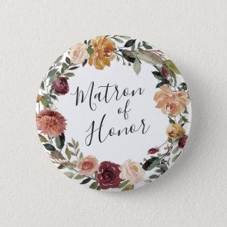 Rustikale Blüten-Matrone der Ehre Runder Button 5,7 Cm