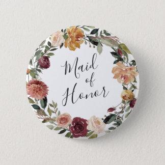 Rustikale Blüten-Trauzeugin Runder Button 5,7 Cm