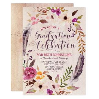 Rustikale Boho Blumenwreath-Abschluss-Einladungen Karte