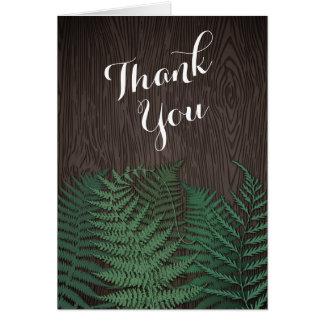 Rustikale botanische Farn-Hochzeit danken Ihnen Mitteilungskarte