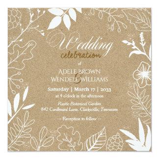Rustikale botanischer Garten-Hochzeit Quadratische 13,3 Cm Einladungskarte