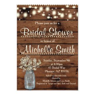 Rustikale Brautparty-Einladung, Maurer-Glas, mit Karte