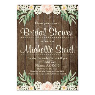 Rustikale Brautparty-Einladung, Spitze, mit Blumen 12,7 X 17,8 Cm Einladungskarte