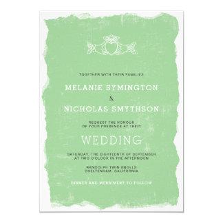 Rustikale Claddagh irische Hochzeit laden, 3991 Karte