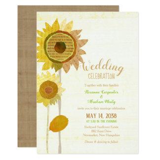Rustikale Collagen-Sonnenblumen, die Einladung