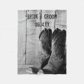 Rustikale Cowboystiefel-Western-Hochzeit Fleecedecke