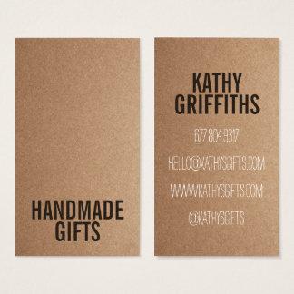 Rustikale diy handgemachte Pappe braunen Visitenkarte