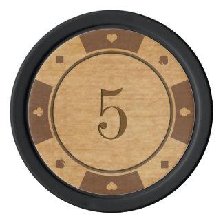Rustikale Eichen-Holz-Kasino-Art-Poker-Chips Poker Chips
