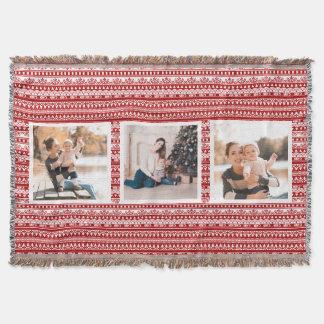 Rustikale Feiertags-Muster-Foto-Collagen-Rot-Decke Decke