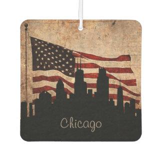 Rustikale Flagge-Chicago-Skyline Lufterfrischer