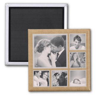 Rustikale Foto-Collage Quadratischer Magnet