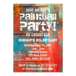 Rustikale Freienpaintball-Party Einladung Karte