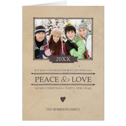 Rustikale Friedens-u. Liebe-WeihnachtsFoto Karte