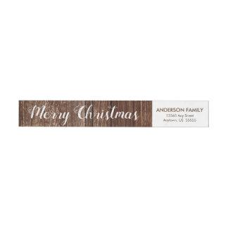 Rustikale frohe Weihnacht-Rücksendeadresse des