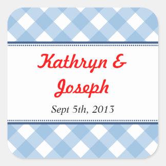 Rustikale Gastgeschenk Hochzeit des blauen Quadrataufkleber