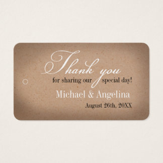 Rustikale Gastgeschenk Hochzeits-Umbauten Visitenkarte