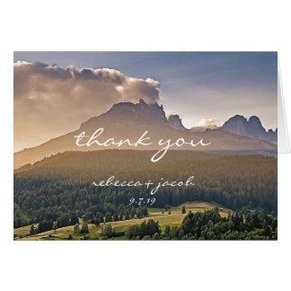 Rustikale Gebirgshochzeit danken Ihnen Mitteilungskarte