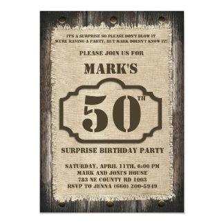 Rustikale Geburtstags-Überraschungs-Party Einladung