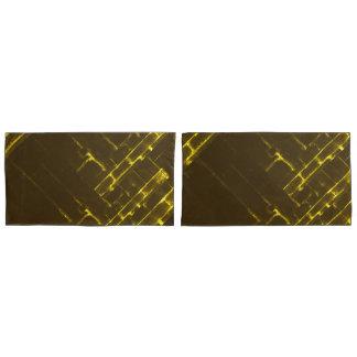 Rustikale gelbe geometrische Batik-Webart Browns Kissenbezug