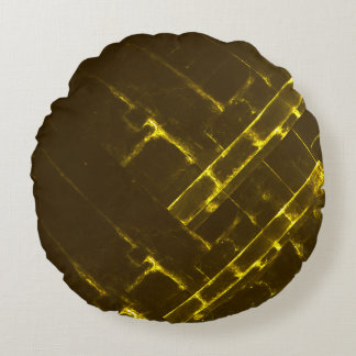 Rustikale gelbe geometrische Batik-Webart Browns Rundes Kissen