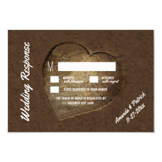 Rustikale geschnitzte Baum-Scheibe-Hochzeit UAWG 8,9 X 12,7 Cm Einladungskarte