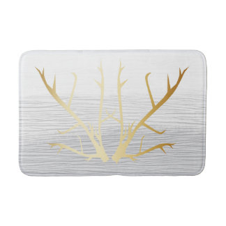 Rustikale Goldgeweihe auf weißem u. Grau Badematte