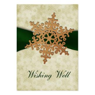 rustikale grüne Schneeflocke, die wohle Karten Mini-Visitenkarten