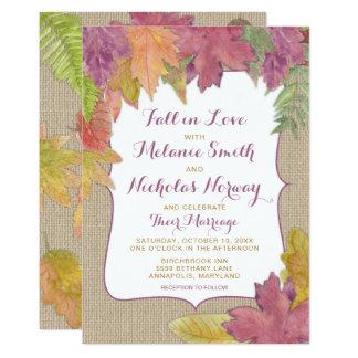 Rustikale Herbst-Blatt-Hochzeit im Herbst laden Karte