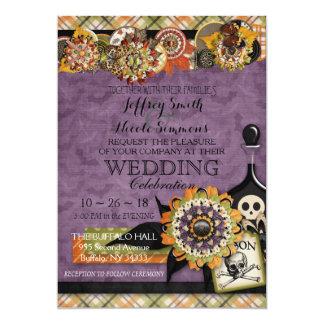 Rustikale Herbst-Fall-Halloween-Scheunen-Hochzeit Karte