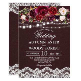 Rustikale Herbst-Hochzeits-Einladung Karte