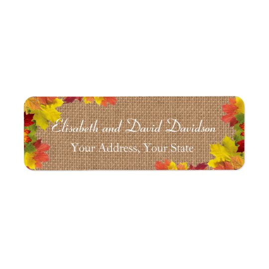 Rustikale Herbstlaub-Leinwand-Hochzeits-Gewohnheit Rücksende Aufkleber