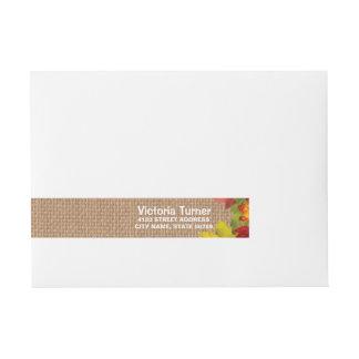 Rustikale Herbstlaub-Leinwand-Hochzeits-Gewohnheit Standard Adress Aufkleber