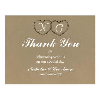 Rustikale Herzen danken Ihnen zu kardieren Postkarte