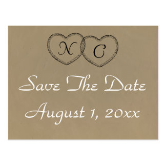 Rustikale Herzen Save the Date Postkarte