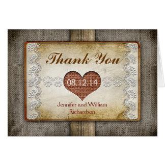 rustikale Hochzeit danken Ihnen Karten