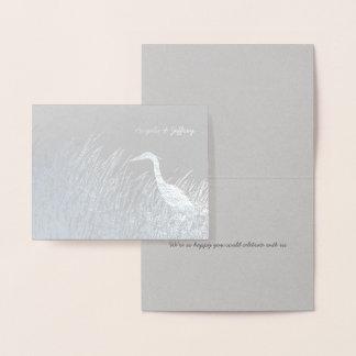 Rustikale Hochzeit der Reiher-Silhouette danken Folienkarte