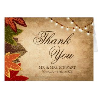 Rustikale Hochzeit im Herbst danken Ihnen, | Karte