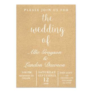 Rustikale Hochzeits-Einladung 12,7 X 17,8 Cm Einladungskarte
