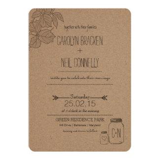 Rustikale Hochzeits-Einladung des Blätter-| des 12,7 X 17,8 Cm Einladungskarte