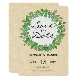 Rustikale Hochzeits-Grünwreath-Save the Date Karte