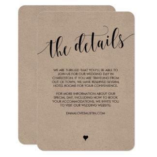 Rustikale Hochzeits-Informations-Einzelkarte 8,9 X 12,7 Cm Einladungskarte