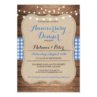 Rustikale Hochzeits-Jahrestags-Blau-Party 12,7 X 17,8 Cm Einladungskarte