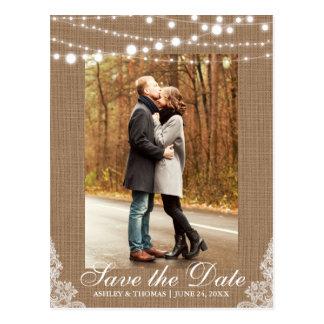Rustikale Hochzeits-Leinwand-Spitze-Lichter Save Postkarte